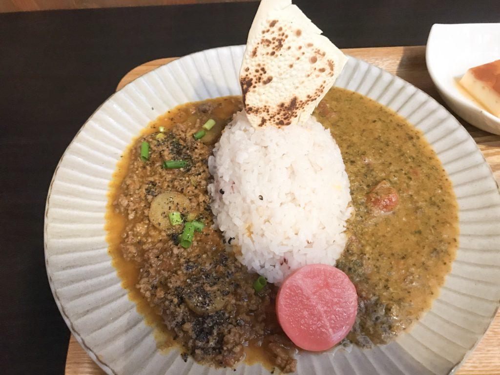 カレー食堂ジャンゴ  2種盛(ほうれん草、ポークキーマ)